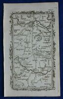 Rare antique road map YORKSHIRE, WETHERBY, BOROUGHBRIDGE,  Armstrong, 1776