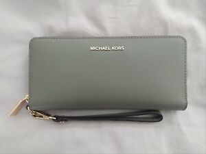 Michael Kors Army Green Pebbled Leather Travel Wallet Wristlet