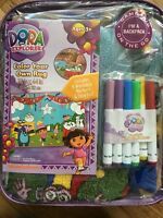 Dora The Explorer Color Your Own Rug & washable markers ages 3+ indoor Fun