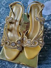 Unbranded Size 5 Gold Heels with crystals, BRAND NEW never worn