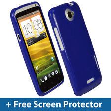 BLUE Lucida TPU Gel Custodia per HTC One X + Plus S720e Android pelle copertura supporto 1