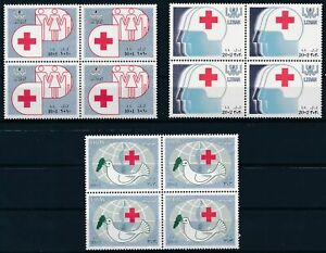 [PG10328] Lebanon 1988 Red Cross good set in block of 4 stamps very fine MNH