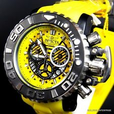 Invicta Sea Hunter III Yellow 70mm Full Sized Rubber Swiss Chronograph Watch New