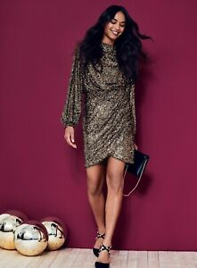 Dorothy Perkins Womens Bronze Sequin Wrap Skirt Dress Long Sleeve Party Wear