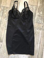 Black Full Slip with Bra 38D Tummy Back Thigh Hip Waist Control Slimming