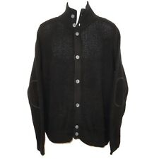 Adidas NEO Label Black Cardigan Sweater Men's Large Elbow Patches 100% Cotton