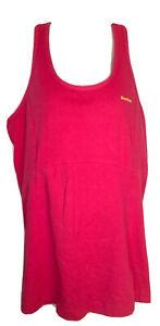 Reebok Womens Pink Size Large Workout Top Racerback Built in Bra Cotton Logo