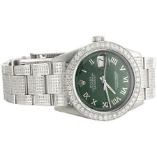 Mens Rolex 36mm DateJust Diamond Watch Fully lced Band Green Roman Dial 5 CT.