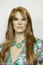 Light Pale Blonde /Auburn / Brown H-Lght Red Long Skin Top Wavy Straight Wigs