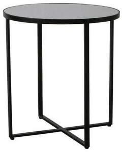 Ashlyn Mirrored Black Side Table