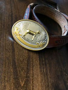 Large Oval FFA or 4-H Western Belt Buckle 3D Stock Show Sheep FREE PRIORITY SHIP