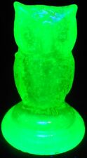 Green Vaseline glass Woodsie OWL / Bird uranium canary yellow screech barn snowy