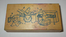 Bunny Rabbit Rock Band Rubber Stamp Drums Piano Saxaphone Top Drawer Carrots