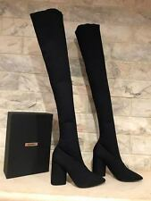 191ee602387 NIB Yeezy Season 4 Black Bat Stretch Canvas Over Knee Thigh High Heel Boots  41