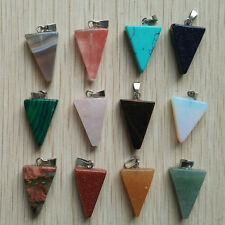 Fashion assorted natural stone triangle shape charms pendants 12pcs Wholesale