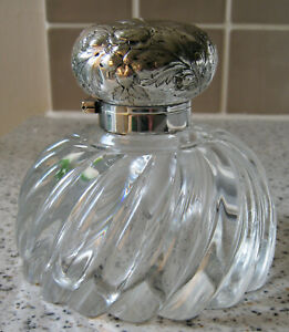 Antique Very Large Cut Glass Desk Inkwell with Hinged Lid and Original Liner