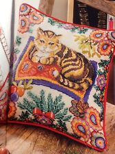 (X8) Festive Cat Cushion Cover Holly Mistletoe Christmas Cross Stitch Chart