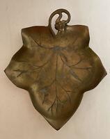 Vintage Solid Brass Grape Leaf Dish Bowl Trinket Tray Catch All
