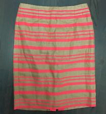 J CREW Coral COTTON LINEN TWILL PENCIL SKIRT Size 2 NEW