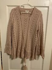 Umgee Knit Bell Sleeve Pink Lace Up Sweater Size S Small