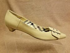 Burberry Women Loafers Tan Nude Fabric Leather Loafers Slip On Buckle Shoes 38.5