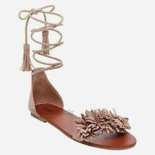 67918c965cd7 Womens Mossimo Ginger Leather Fringe Toe Gladiator Sandals NWOB C175