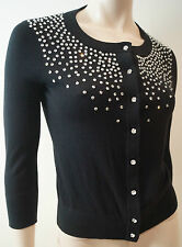 KATE SPADE Black Cotton Silk & Cashmere Embellished Round Neck Cardigan Top XS