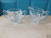 Vintage Clear Glass Creamer and Sugar Bowl with Floral Design