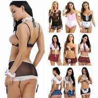 Sexy Women Uniform Naughty School Girl Outfit Fancy Dress Backless Costume