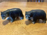 Vintage Black Bear Salt And Pepper Shakers Ceramic Animal