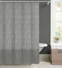 Silver Faux Silk Fabric Shower Curtain w/ 12 Rollerball Hooks: Metallic Floral