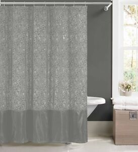 Silver Faux Silk Fabric Shower Curtain w/ 12 Rollerball Hooks: Metallic Floral
