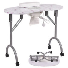 Folding Portable Vented Manicure Table Nail Desk Salon Spa With Fan & Carry Bag