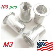 100pcs M3 Aluminum Alloy Rivnut Flat Head Threaded Rivet Insert Nut 3mm