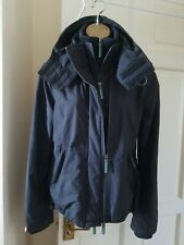 SUPERDRY THE WINDCHEATER GREY GREEN FLEECE LINED HOODED JACKET Size M
