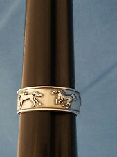 KABANA 92.5 STERLING SILVER VERY NICE EQUESTRIAN RUNNING HORSE BAND RING SIZE 10