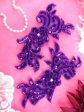 "JB259 Sequin Appliques Purple MIRROR PAIR Floral Beaded Dance Patch 7"""
