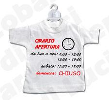 MINI T-SHIRT cartello x vetrina negozio ORARIO APERTURA CHIUSURA PERSONALIZZATO