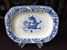 Antique Blue & White Small  Dragon Platter - Adderleys Ltd 1920's