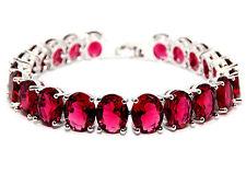Silver Ruby 52.5ct Chunky Tennis Bracelet (925)