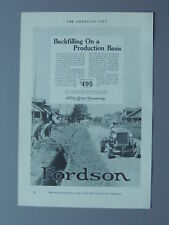 1926 BACKFILLING ON A PRODUCTION BASIS FORD MOTOR COMPANY FORDSON TRACTOR ART AD