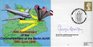 50th anniversary of the Berlin Airlift BFPO RAF cover signed ROBERTSON MP