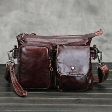 Mens Genuine Leather Messenger Shoulder Satchel Bag Clutch Wristlet Handbag