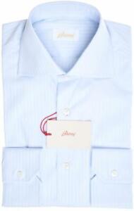 Brioni Shirt Superfine Cotton Size 14 1/2 Blue Tonal 03SH0728 $695