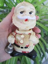 "Vintage Wind Up Santa Claus Head moves Silver Bell 5"" Toy Christmas Alps Japan"