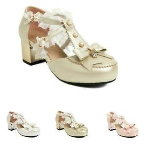Sweet Women's Block Heel T Strap Buckle Lolita Bowknot Wedding Bridal Sandals