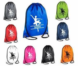 Personalised Name SPLIT Ballet Dance Drawstring Bag School Custom Name Dancer