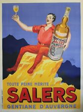 """""""SALERS GENTIANE D'AUVERGNE"""" Affiche originale entoilée Litho ROBYS 1935"""
