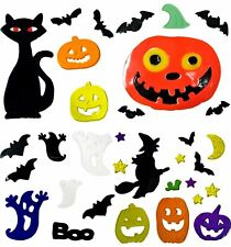 4 Sheets of Halloween Window Stickers - Gel Clings Glass Decoration