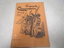 LORRAINE : CONCERTS DU CONSERVATOIRE NANCY 1924 1925 V VICTOR PROUVE RARE *